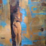 nude in a doorway, blue and beige