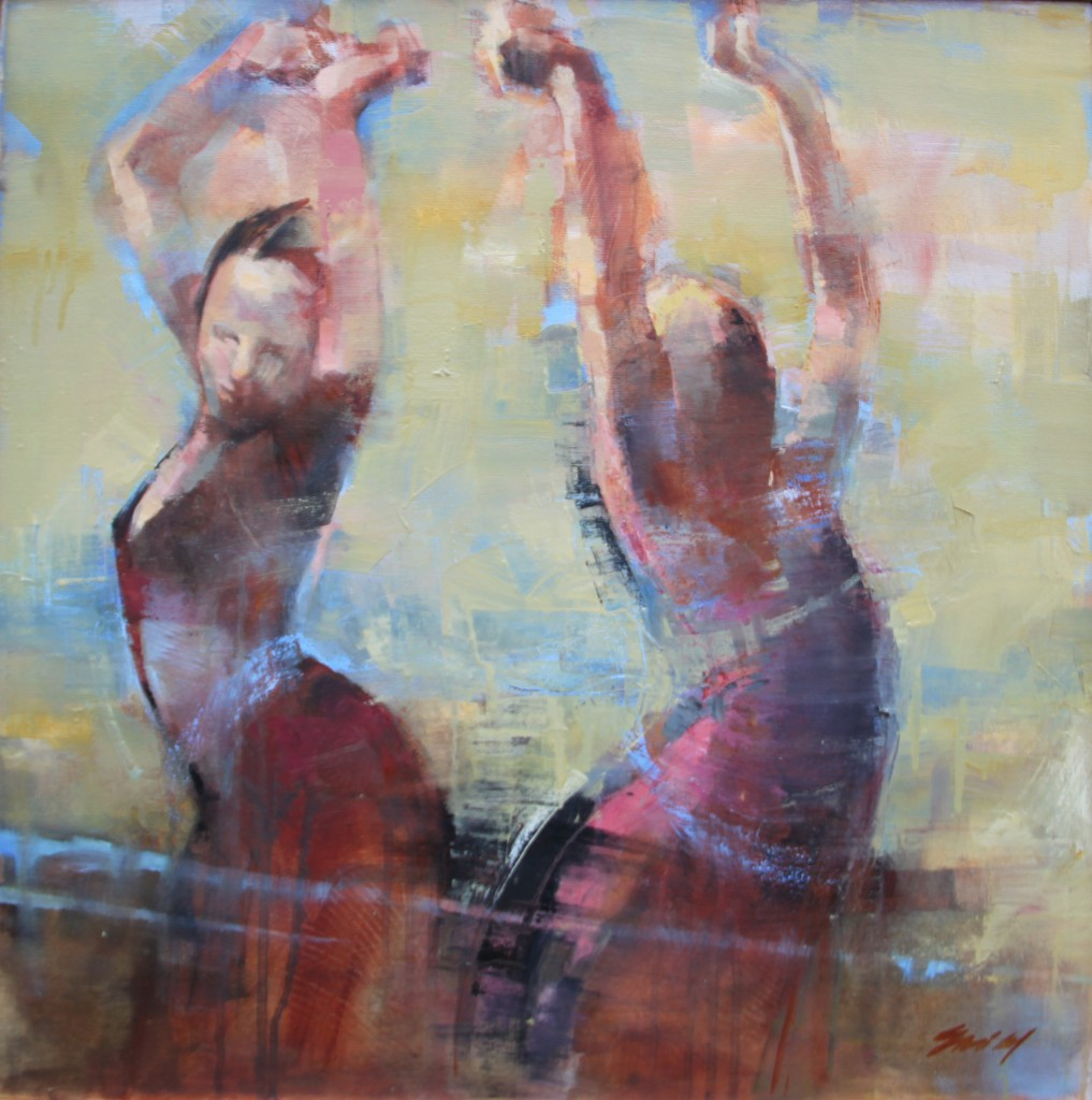 Oil painting of 2 dancers dressed in red, abstracted background