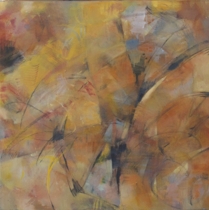 abstract painting by Sandra Speidel, warm orange flower like
