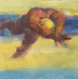 Painting of diver figure with abstract background