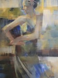 woman, some abstraction, blue, green, yellow